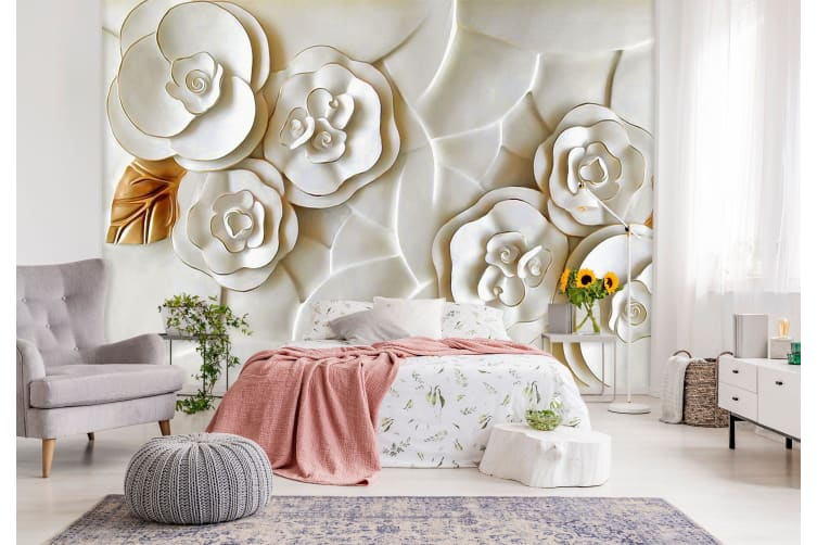3D Embossed White Flower 145 Wall Murals Woven paper (need glue), XXL 312cm x 219cm (WxH)(123''x87'')