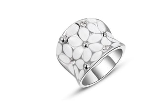 White Enamel Floral Mosaic High Polished Stainless Steel Cocktail Ring 7