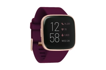 Fitbit Versa 2 Smart Fitness Watch (Bordeaux, Copper Rose Aluminium)