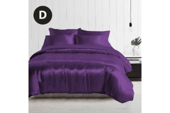 Double Size Silky Feel Quilt Cover Set-Purple