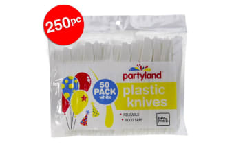 250pc Partyland Reusable Food Safe/BPA Free Plastic Knives/Knife/Cutlery White