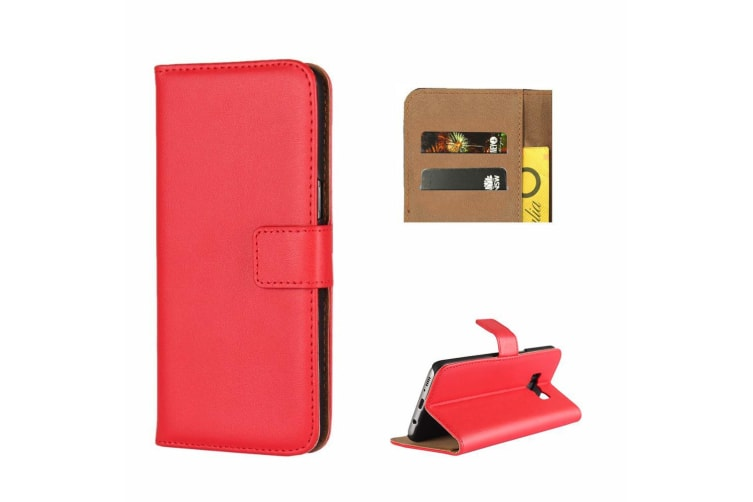 For Samsung Galaxy S8 Wallet Case  Shielding Slim Leather Cover Red