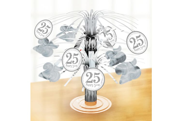 Amscan Silver 25 Year Anniversary Table Centrepiece (Silver) (One Size)