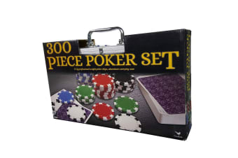 300pc Cardinal Classic Poker Set w/Aluminum Storage Suitcase/Dice/Cards/Chips