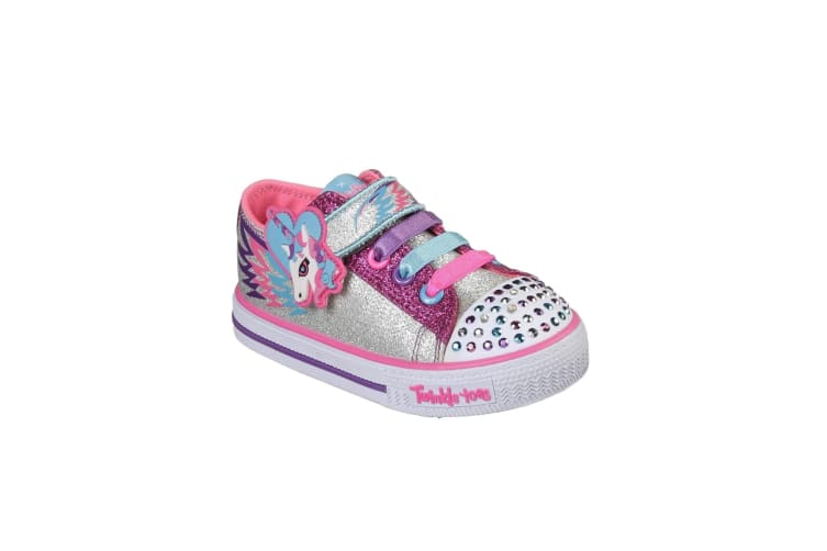 Skechers Childrens Girls Shuffles Party Pets Touch Fastening Trainers (Silver/Hot Pink) (5 Child UK)