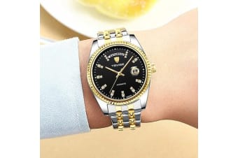 TEVISE T833A Business Men Automatic Mechanical Watch Time Calendar Display Fashion Casual Stainless Steel Strap 3ATM Waterproof Luminous Hands Male Wristwatch-Blackgold