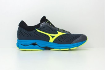 Mizuno Men's WAVE RIDER 22 Running Shoe (Ombre Blue/Safety Yellow, Size 9 US)