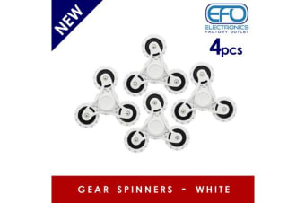 4Pc 4X 3D Hand Spinner Fidget Toy Gear Style Stress Reliever Fast Bearing Spin White