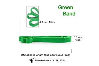 Yellow-Price 2Packs Resistance Band 1.3cm Green (15-35lb) Exercise Stretching