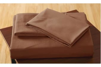 Polyester 2 Piece Bed Fitted Sheet + Pillowcase King Single Chocolate