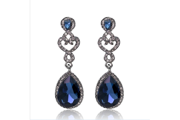 Women's Fashion Wedding Bridal Crystal Teardrop Romantic Dangle Earrings Gold
