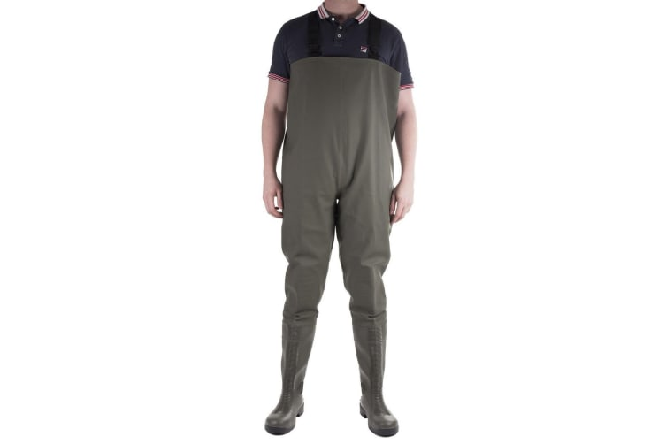 Amblers Mens Tyne Chest Safety Wader Wellingtons (Green) (12 UK)
