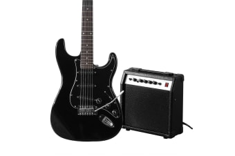 "Melodic Full-Size 39"" Electric Guitar with Bonus Amplifier Black"