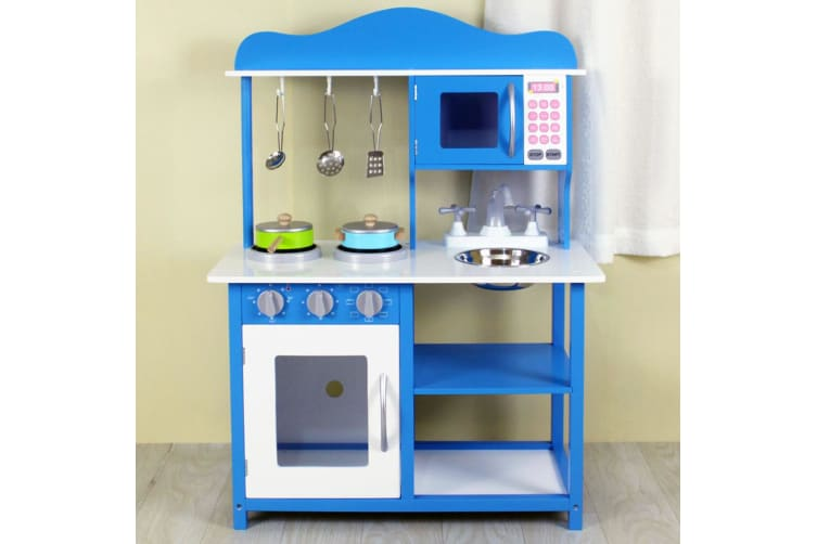 Gem Toys 83cm Kids Wooden Kitchen Pretend Playset w/Oven/Sink/Microwave/Shelf BL