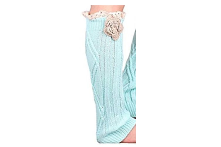 Soft Knit Knee High Boot Cuffs Leg Warmers With Handmade Flower Lace Trim Lake Blue