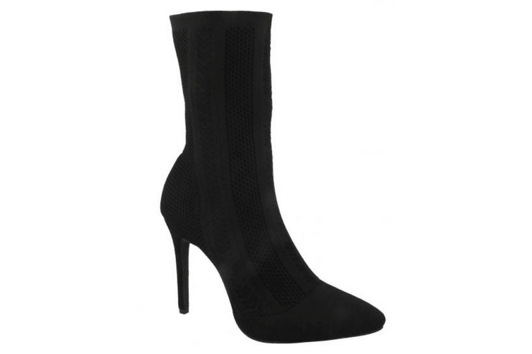 Anne Michelle Womens/Ladies High Heel Knitted Calf Boots (Black) (UK 5)