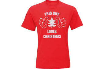 Christmas Shop Mens This Guy Loves Christmas Short Sleeve T-Shirt (Red) (2XL)
