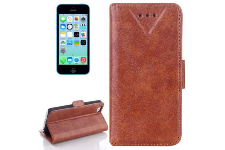 For iPhone 5C Wallet Case  Oil Leather Durable Shielding Cover Brown