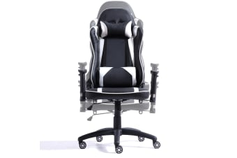 Levede Executive Gaming Office Chair Racing Computer PU Leather Recliner Silver  -  Silver