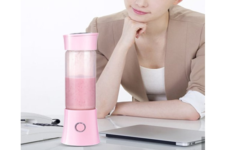 Portable Blender,Household Personal Smoothie Blender480ML Fruit Juice Mixer with USB Rechargeable and 6 PCS Stainless Steel Blades(PINK)