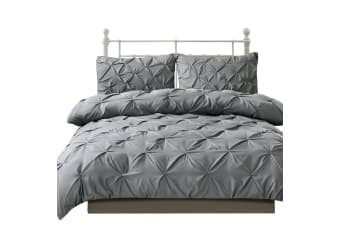 Dreamz Diamond Pintuck Duvet/Doona/Quilt Cover Set Queen King Size Bed Supersoft  -  CharcoalFull