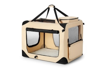 Extra Large Pet Dog Cat Soft Crate Folding Puppy Travel Cage - Beige