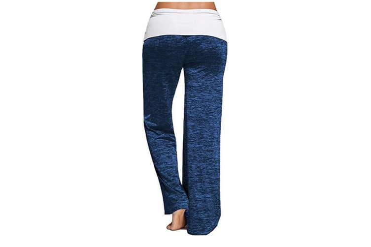 Stitching Yoga Quick-Drying Sports Trousers Leg Pants Blue S