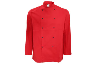 Dennys Unisex Long Sleeve Stud Button Chef Jacket (Pack of 2) (Red)
