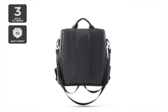 Anti-theft Leather Backpack (Black)