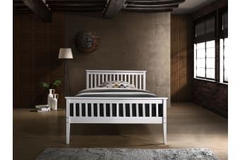 Timber Bed Frame in Queen Double King Single Size Wooden Slatted White