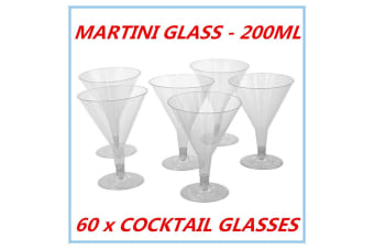 60 DISPOSAL PLASTIC CLEAR COCKTAIL MARTINI GLASS 200ML REUSABLE WEDDING PARTY FW