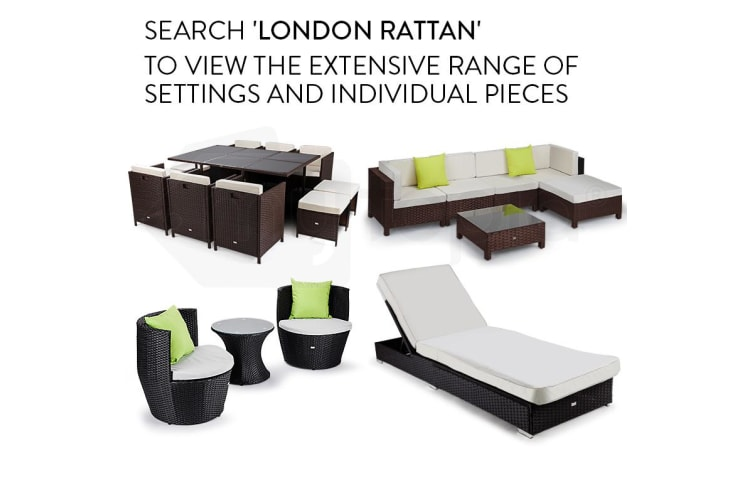 LONDON RATTAN Wicker 11 Piece Outdoor Dining Furniture Set - Table and Chairs
