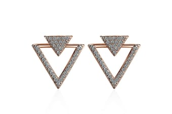 Inverted Pyramid Stud Earrings   Rose Gold-Rose Gold/Clear