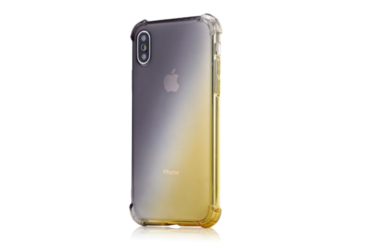 Slim Black Gold Color Gradient Shock Absorption Protective Cases For Iphone X