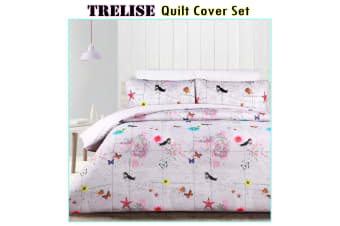 180TC Trelise Silver Quilt Cover Set SINGLE