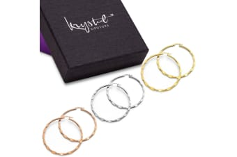 3 Prs Fem Hoop Earring Set-White Gold/Rose Gold/Gold