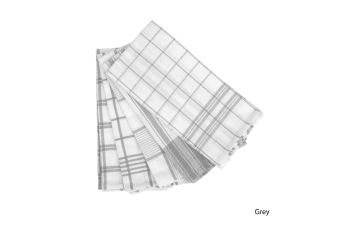 Set of 5 Checkered Cotton Tea Towels Grey by IDC Homewares