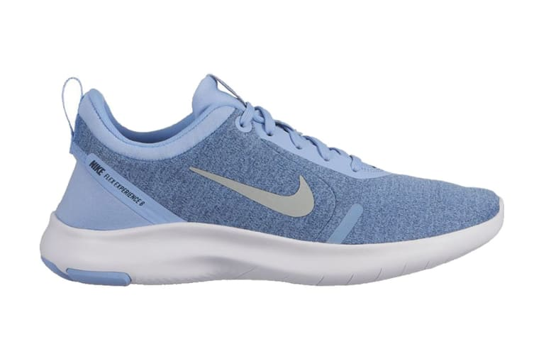 Nike Flex Experience RN 8 Women's Running Shoe (Aluminum/Metallic Silver/Blue Void/White, Size 9.5 US)