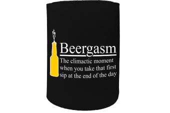 123t Stubby Holder - beergasm the climactic moment funny alcohol - Funny Novelty