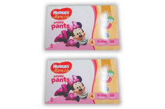 176PK Huggies Ultimate Size 4 Girl 10-15kg Toddler Mickey 12h Nappy Pant/Pull Up