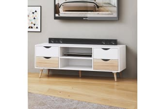 TV Cabinet Stand Entertainment Unit 150cm 4 Drawer Storage Shelf Sideboard White