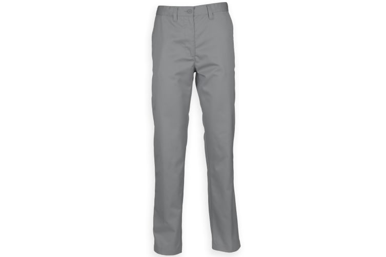 Henbury Mens 65/35 Flat Fronted Chino Trousers (Steel Grey) (36R)
