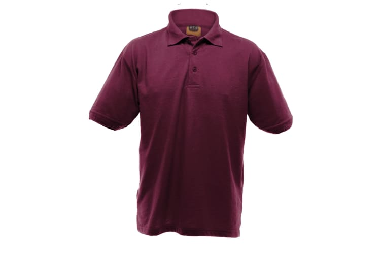 UCC 50/50 Mens Heavyweight Plain Pique Short Sleeve Polo Shirt (Burgundy) (XL)