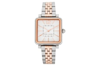 Marc Jacobs Women 30mm Square Vic Stainless Steel Wrist Watch Silver/Rose Gold
