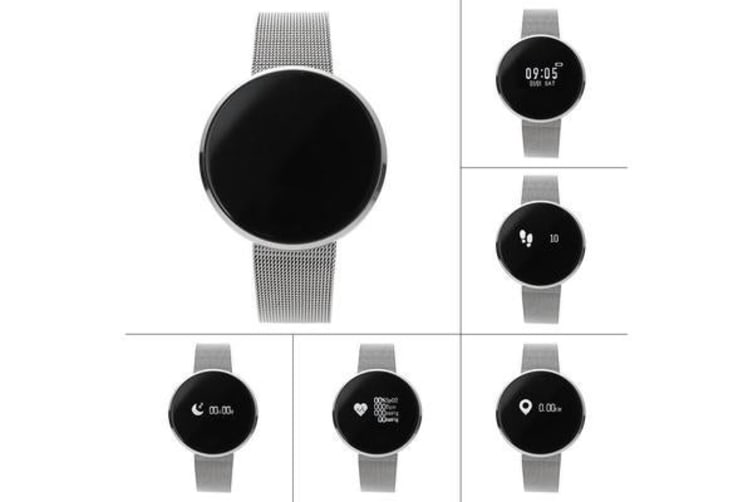 """Bluetooth V4.0 Smart Watch Heart Rate Blood Oxygen 0.96"""" Oled Ip67 - Metal Silver"""