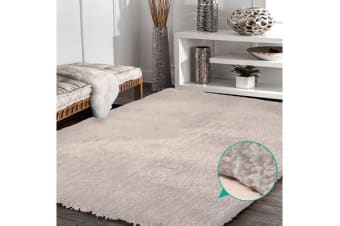Luxury Soft Plush Thick Rectangle Shaggy Floor Rug BEIGE 160x225cm