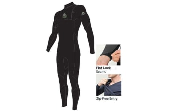 Adrenalin Fuzion Zip Free Steamer Adult Wetsuit Small (Black)