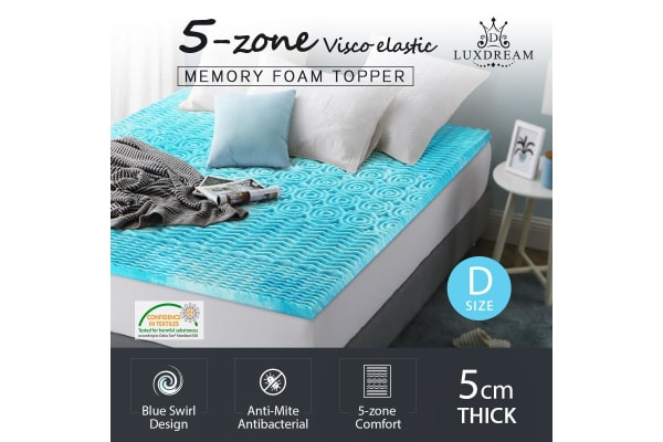 5cm Double Cool Gel Memory Foam Mattress Topper 5 Zone Mattress