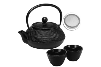 Avanti Hobnail Cast Iron Teapot 800ml Tea Coffee Kettle Pot w Tea Infuser 2x Cup