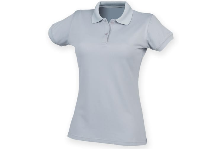 Henbury Womens/Ladies Coolplus® Fitted Polo Shirt (Silver Grey) (M)